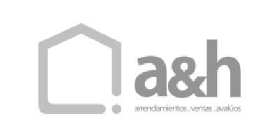 Logotipo en gris de a&h arrendamientos ventas avalúos