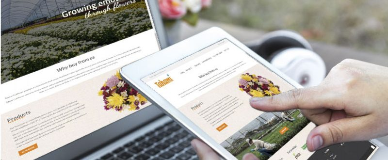 Computador portatil y tablet navegando página web responsive de Tahami Cultiflowers